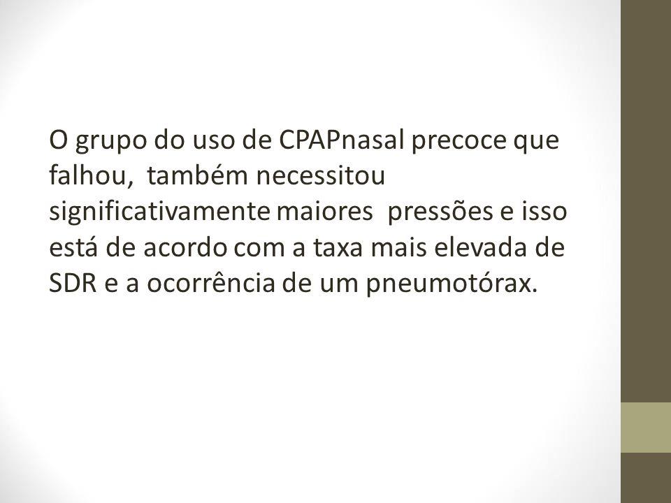 O grupo do uso de CPAPnasal precoce que falhou, também necessitou significativamente maiores pressões e isso está de acordo com a taxa mais elevada de SDR e a ocorrência de um pneumotórax.