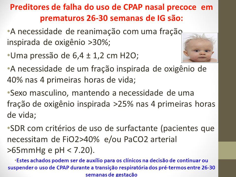Preditores de falha do uso de CPAP nasal precoce em prematuros 26-30 semanas de IG são: