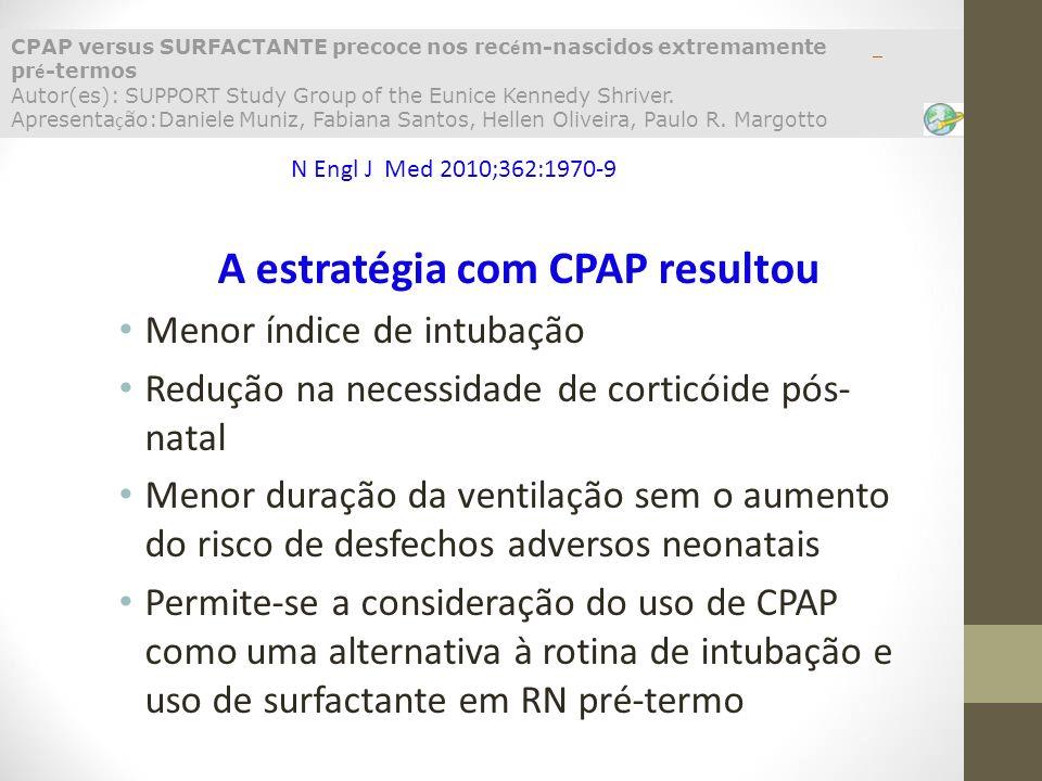 A estratégia com CPAP resultou