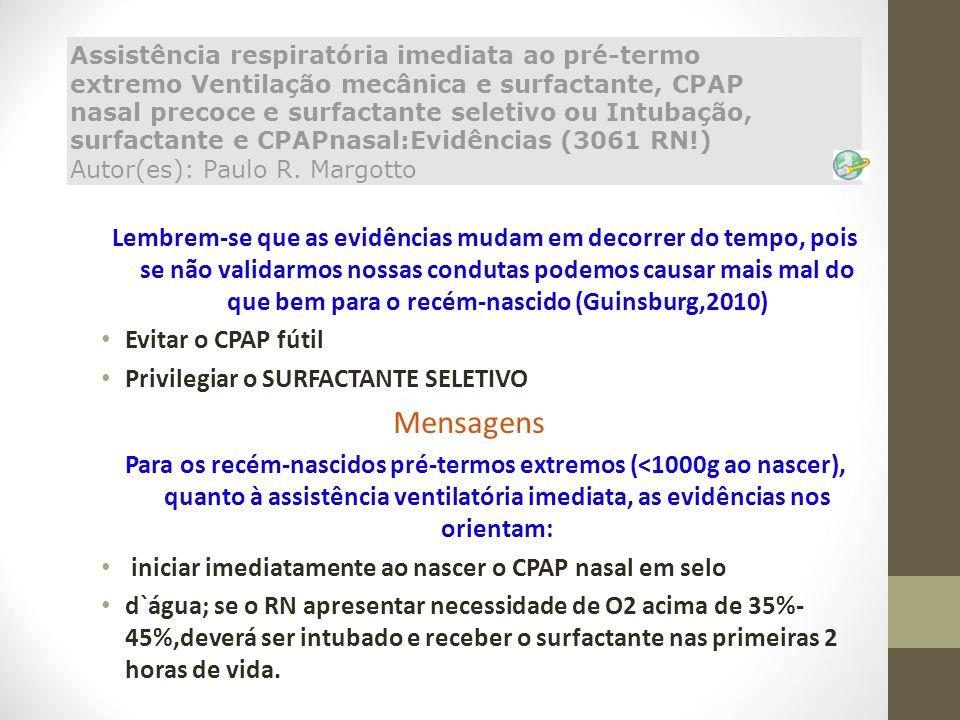 Assistência respiratória imediata ao pré-termo extremo Ventilação mecânica e surfactante, CPAP nasal precoce e surfactante seletivo ou Intubação, surfactante e CPAPnasal:Evidências (3061 RN!) Autor(es): Paulo R. Margotto