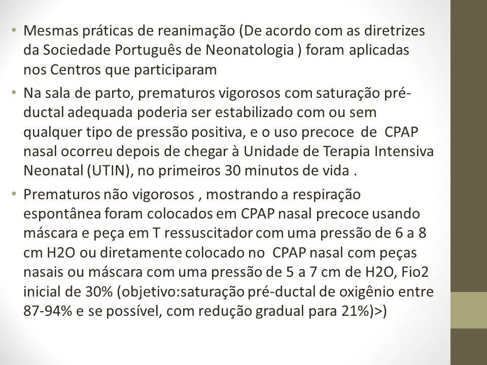 Mesmas práticas de reanimação (De acordo com as diretrizes da Sociedade Português de Neonatologia ) foram aplicadas nos Centros que participaram
