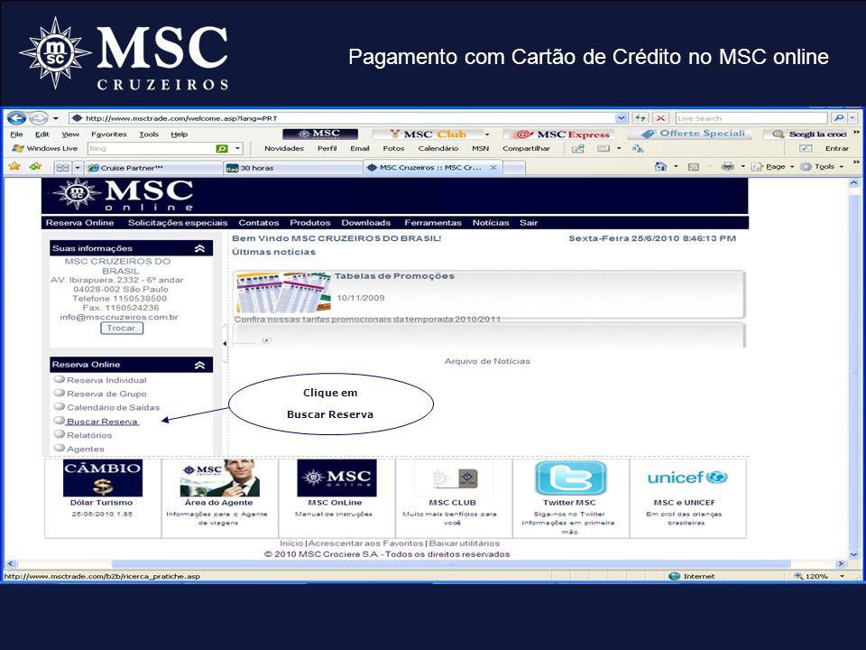 Pagamento com Cartão de Crédito no MSC online