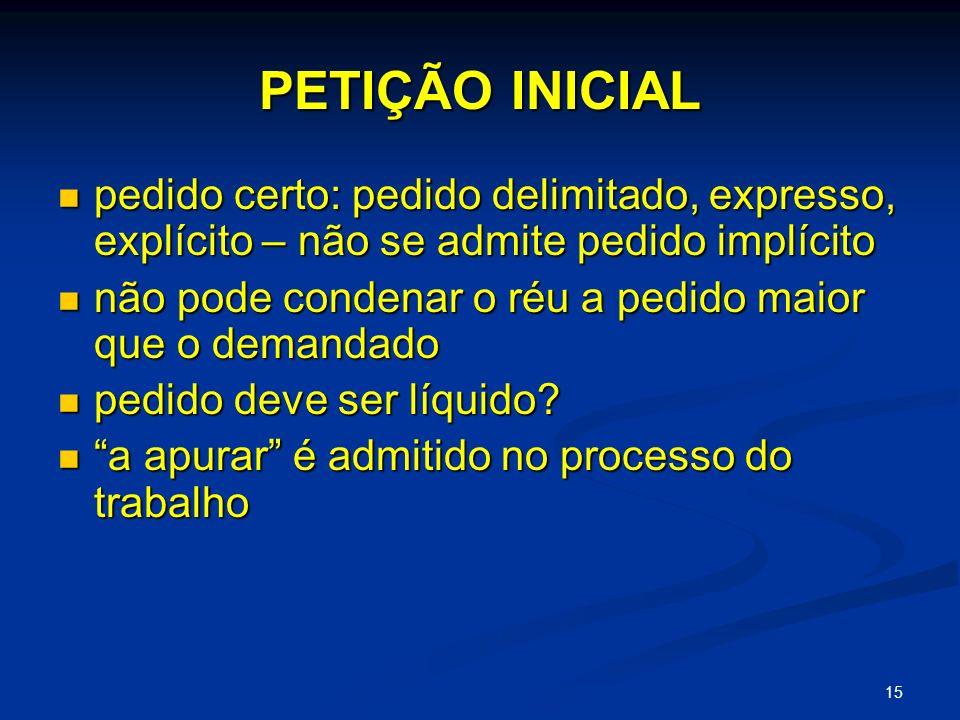 PETIÇÃO INICIAL pedido certo: pedido delimitado, expresso, explícito – não se admite pedido implícito.