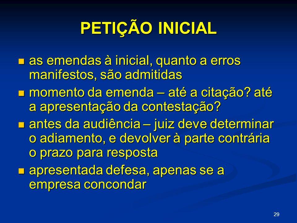 PETIÇÃO INICIAL as emendas à inicial, quanto a erros manifestos, são admitidas.