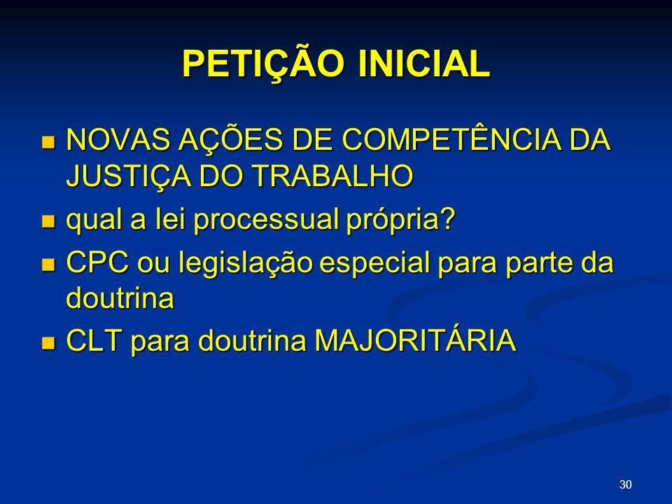 PETIÇÃO INICIAL NOVAS AÇÕES DE COMPETÊNCIA DA JUSTIÇA DO TRABALHO