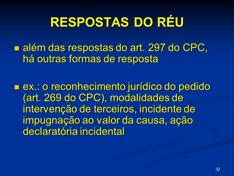 RESPOSTAS DO RÉU além das respostas do art. 297 do CPC, há outras formas de resposta.