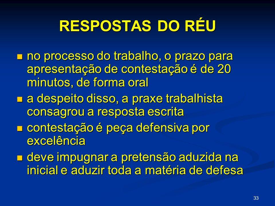 RESPOSTAS DO RÉU no processo do trabalho, o prazo para apresentação de contestação é de 20 minutos, de forma oral.