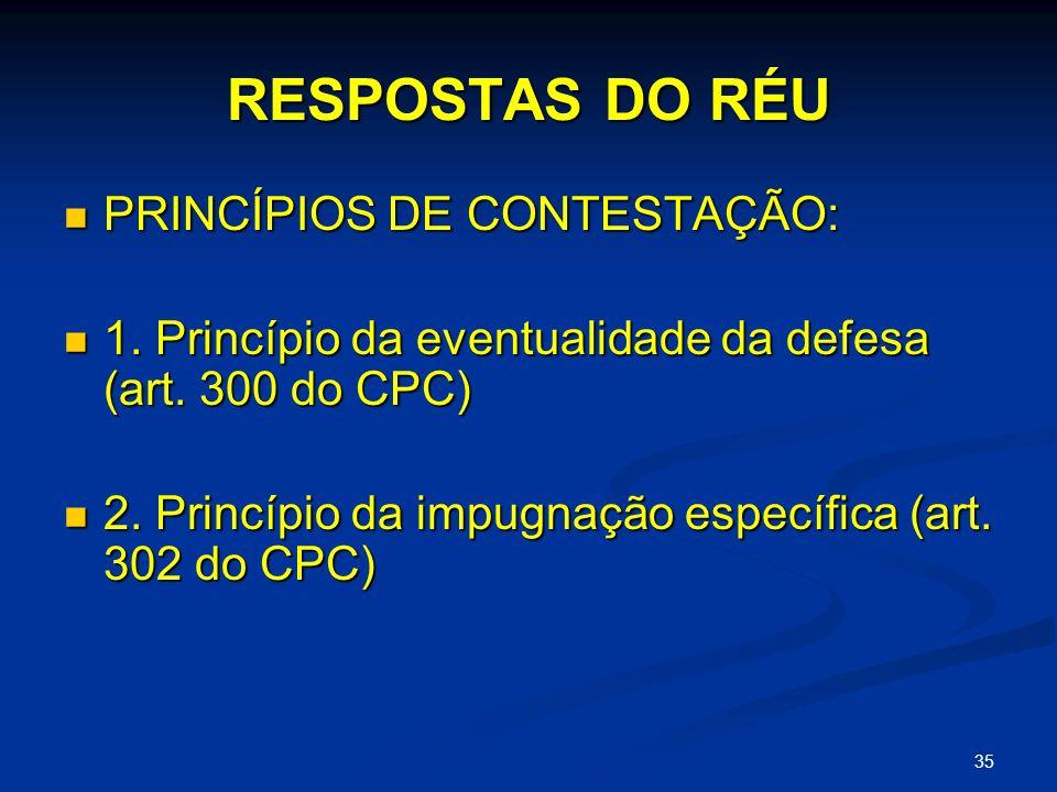 RESPOSTAS DO RÉU PRINCÍPIOS DE CONTESTAÇÃO: