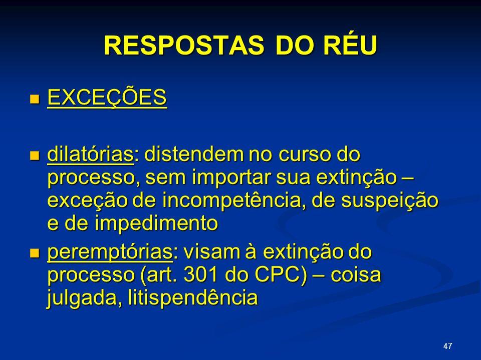 RESPOSTAS DO RÉU EXCEÇÕES