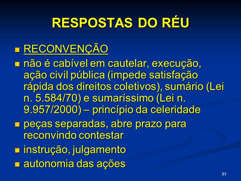 RESPOSTAS DO RÉU RECONVENÇÃO