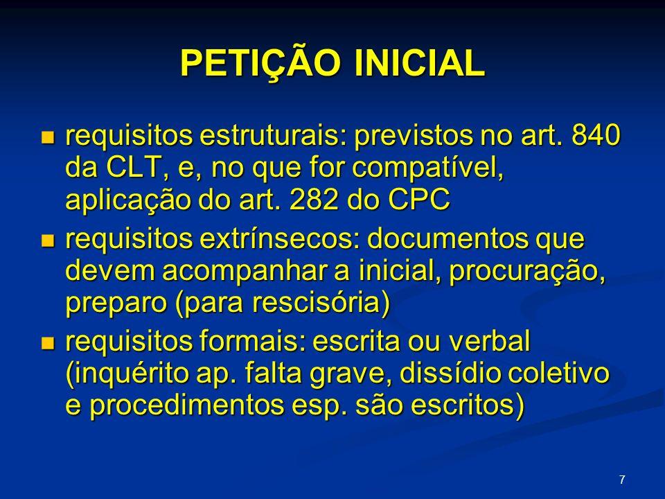PETIÇÃO INICIAL requisitos estruturais: previstos no art. 840 da CLT, e, no que for compatível, aplicação do art. 282 do CPC.