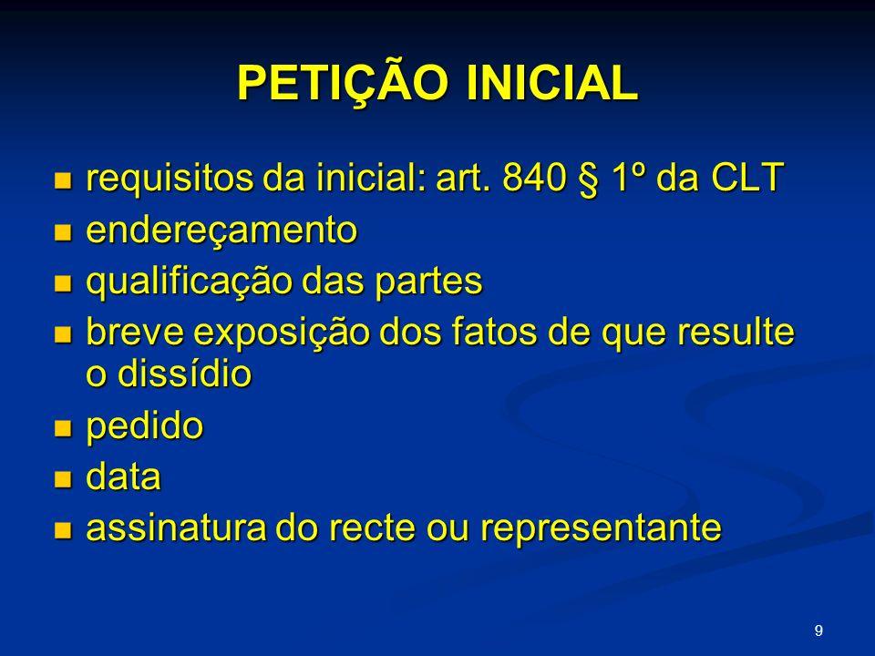 PETIÇÃO INICIAL requisitos da inicial: art. 840 § 1º da CLT