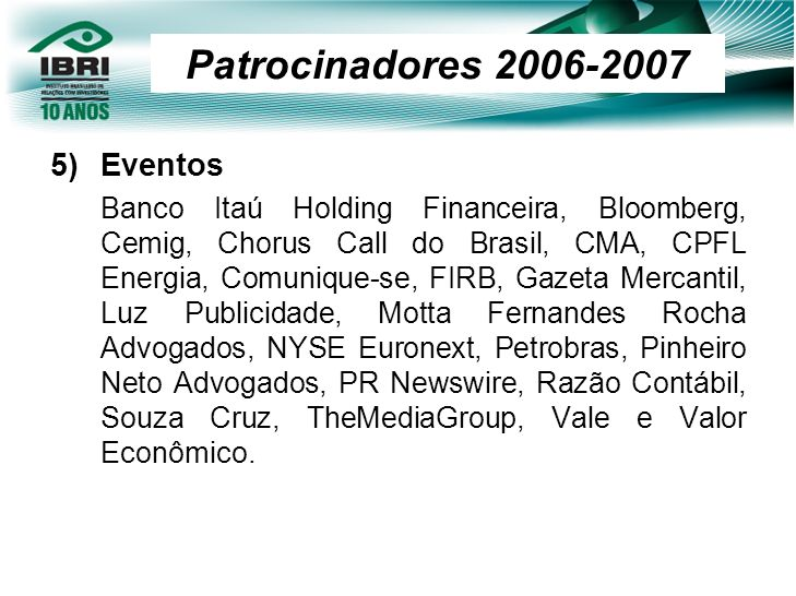 Patrocinadores 2006-2007 Eventos