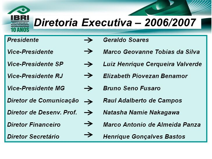 Diretoria Executiva – 2006/2007