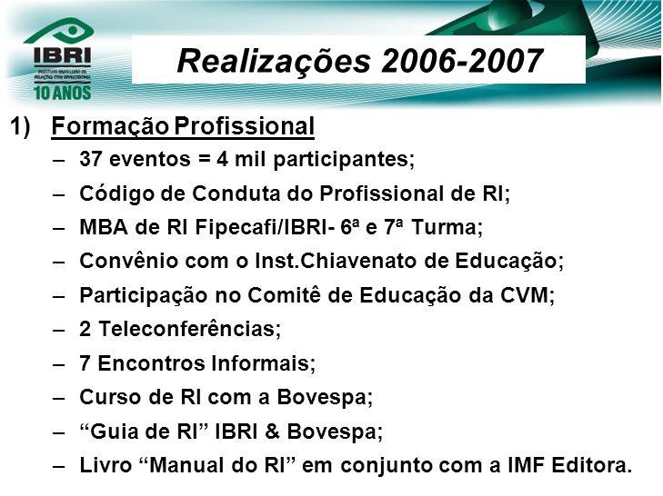 Realizações 2006-2007 Formação Profissional