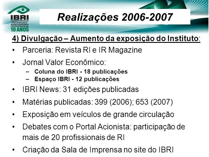 Realizações 2006-2007 4) Divulgação – Aumento da exposição do Instituto: Parceria: Revista RI e IR Magazine.
