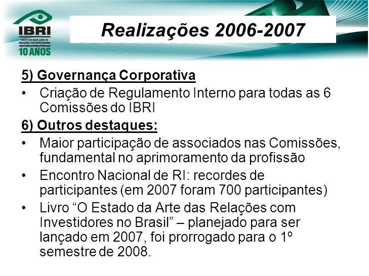 Realizações 2006-2007 5) Governança Corporativa
