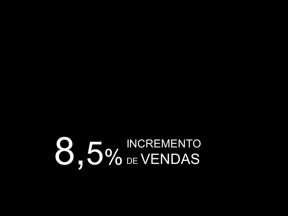 8,5% INCREMENTO DE VENDAS