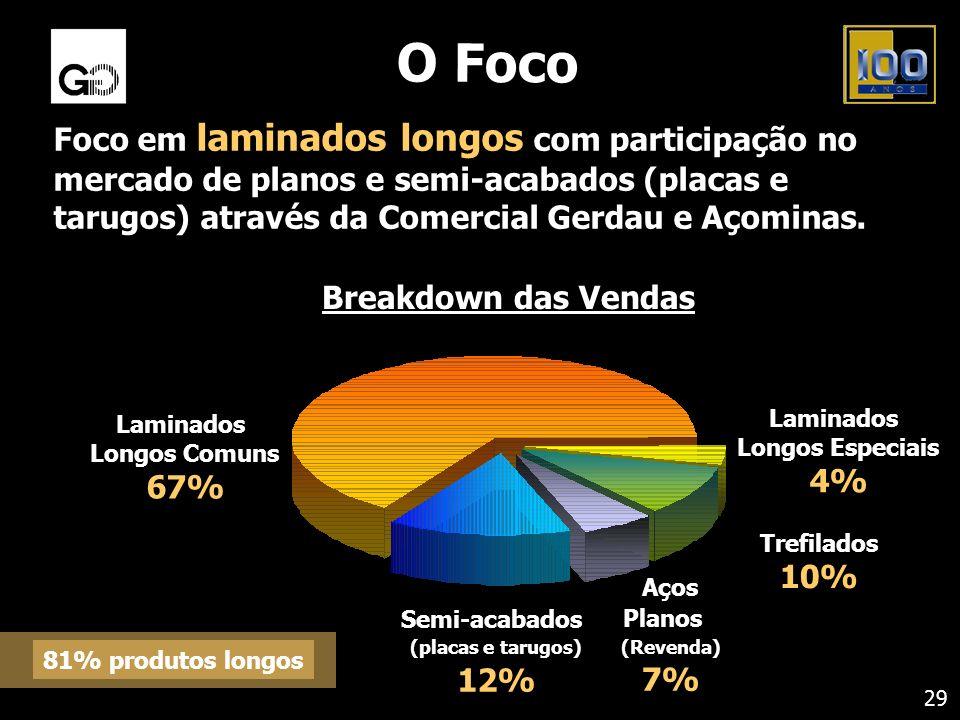 O Foco Foco em laminados longos com participação no mercado de planos e semi-acabados (placas e tarugos) através da Comercial Gerdau e Açominas.