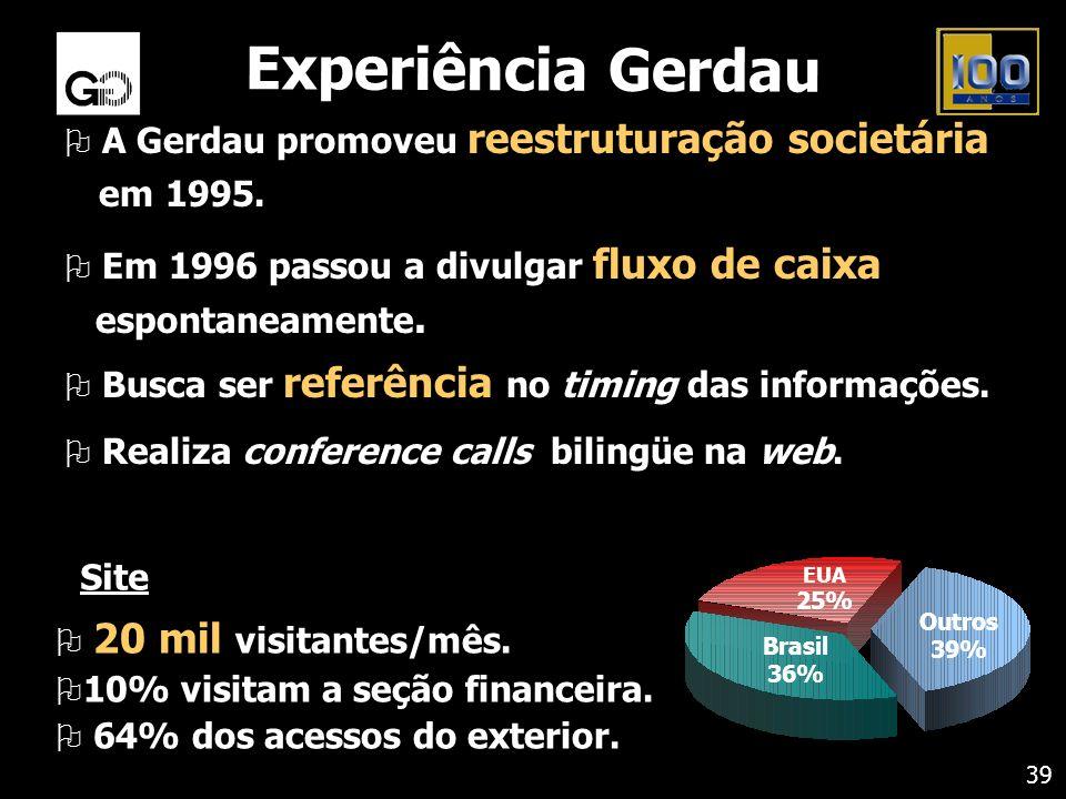 Experiência Gerdau A Gerdau promoveu reestruturação societária em 1995. Em 1996 passou a divulgar fluxo de caixa espontaneamente.