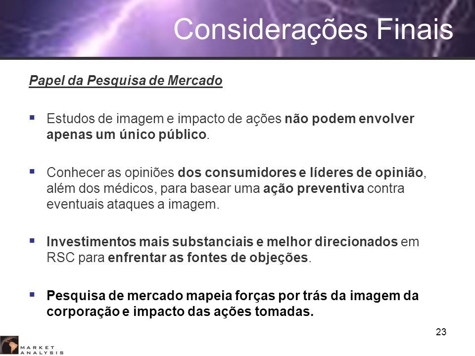 Considerações Finais Papel da Pesquisa de Mercado