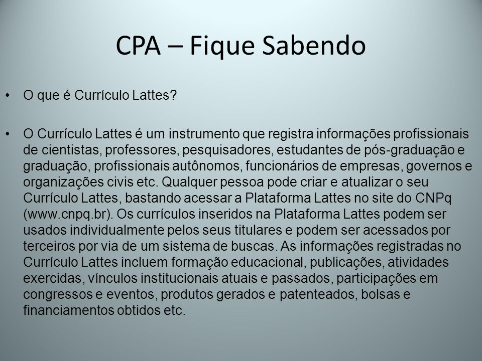 CPA – Fique Sabendo O que é Currículo Lattes