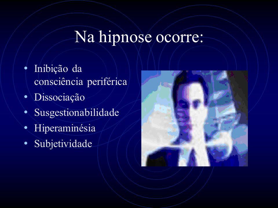 Na hipnose ocorre: Inibição da consciência periférica Dissociação