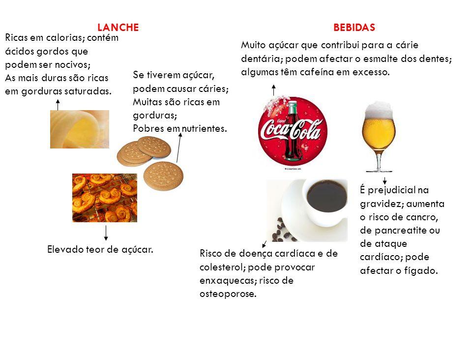 LANCHE BEBIDAS. Ricas em calorias; contém ácidos gordos que podem ser nocivos; As mais duras são ricas em gorduras saturadas.