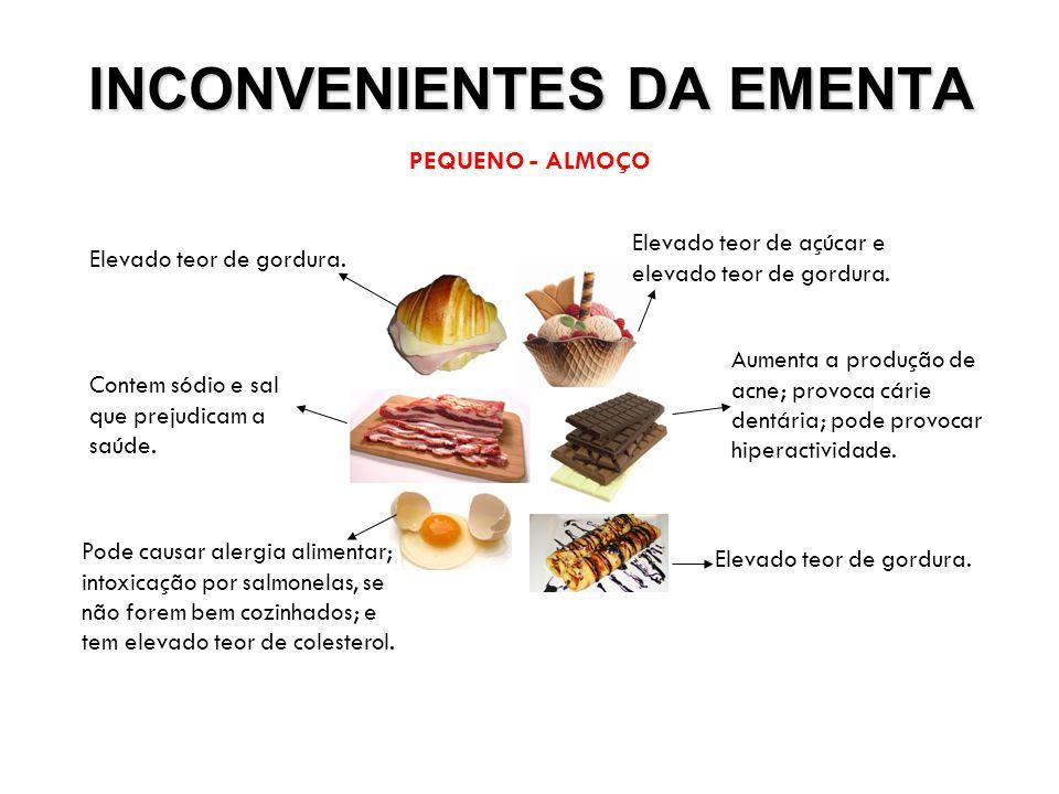 INCONVENIENTES DA EMENTA