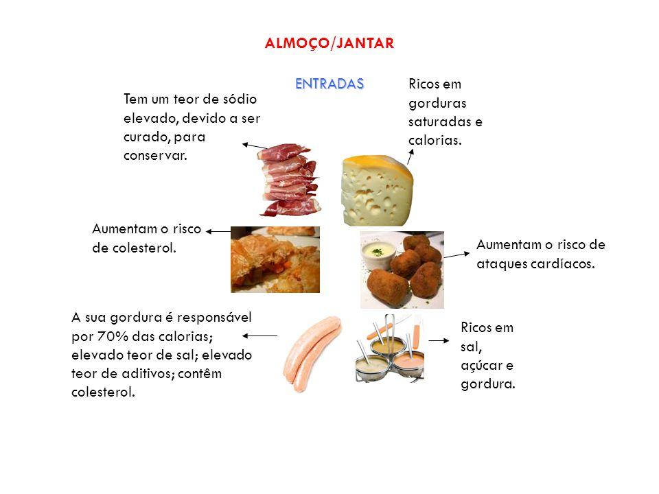ALMOÇO/JANTAR ENTRADAS Ricos em gorduras saturadas e calorias.
