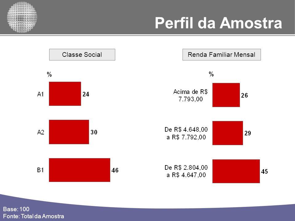 Perfil da Amostra Classe Social Renda Familiar Mensal Base: 100
