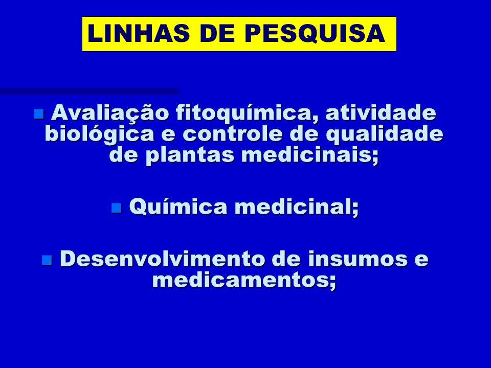 Desenvolvimento de insumos e medicamentos;