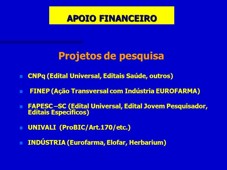 APOIO FINANCEIRO Projetos de pesquisa