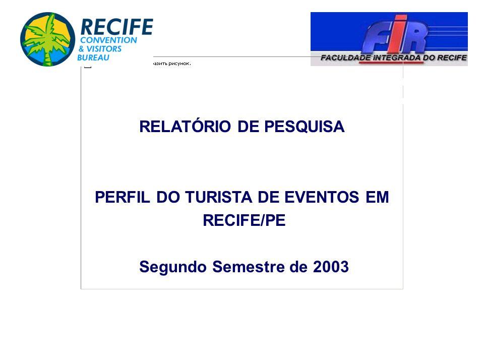 PERFIL DO TURISTA DE EVENTOS EM RECIFE/PE Segundo Semestre de 2003