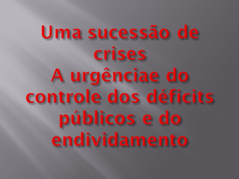 Uma sucessão de crises A urgênciae do controle dos déficits públicos e do endividamento