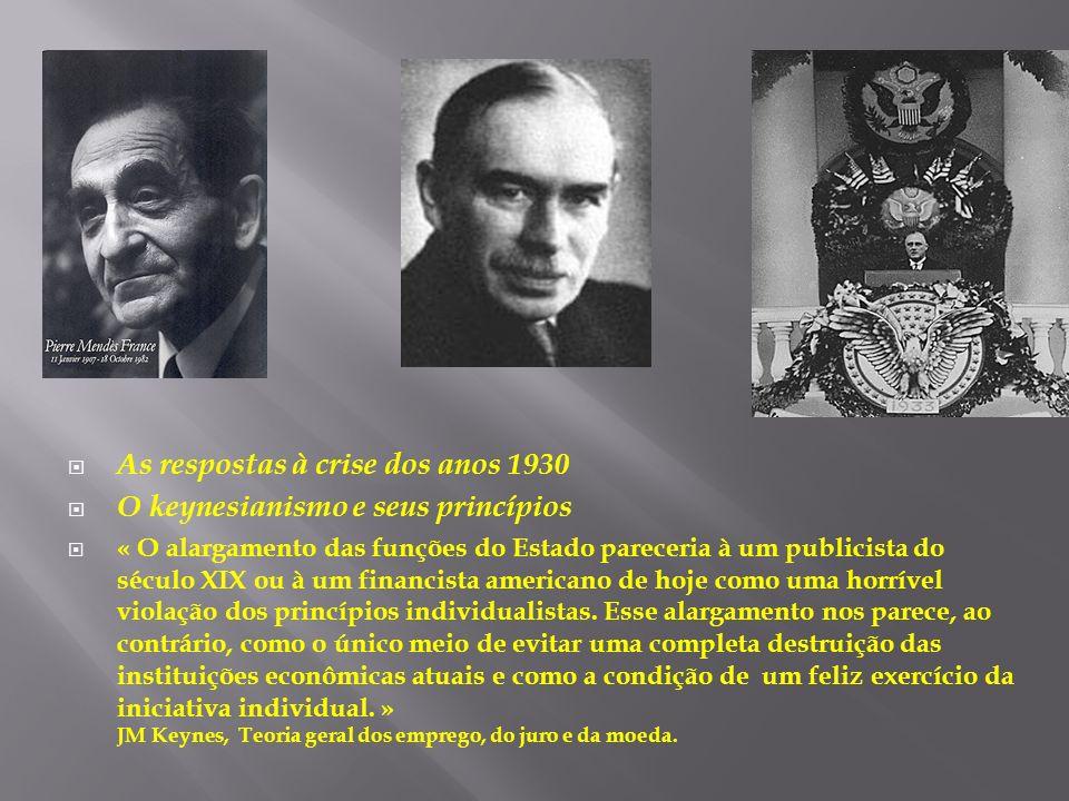 As respostas à crise dos anos 1930 O keynesianismo e seus princípios