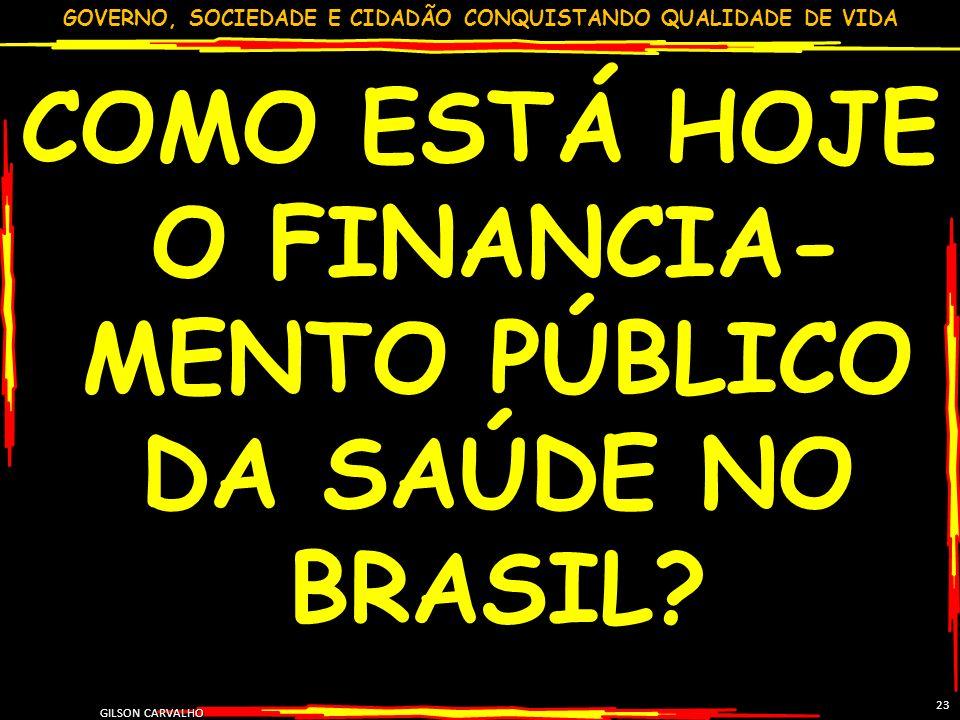 COMO ESTÁ HOJE O FINANCIA-MENTO PÚBLICO DA SAÚDE NO BRASIL