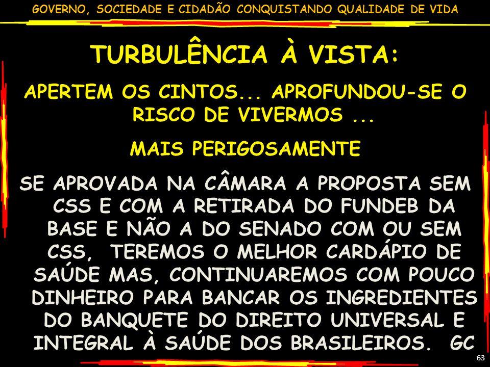 APERTEM OS CINTOS... APROFUNDOU-SE O RISCO DE VIVERMOS ...
