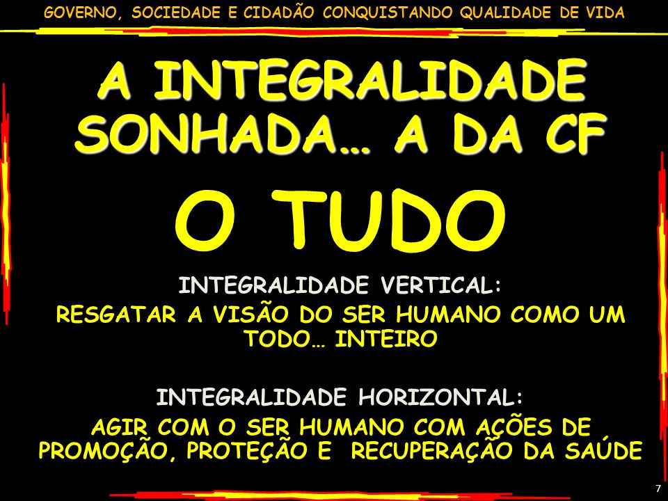 O TUDO A INTEGRALIDADE SONHADA… A DA CF INTEGRALIDADE VERTICAL: