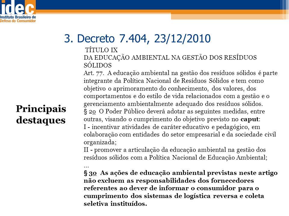 3. Decreto 7.404, 23/12/2010 Principais destaques TÍTULO IX