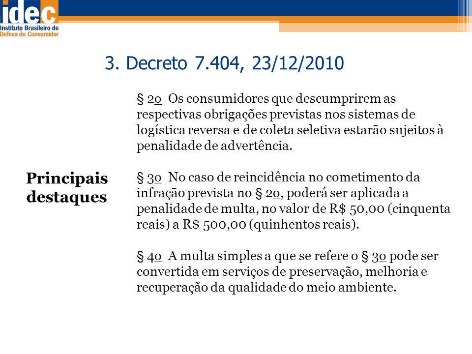 3. Decreto 7.404, 23/12/2010 Principais destaques