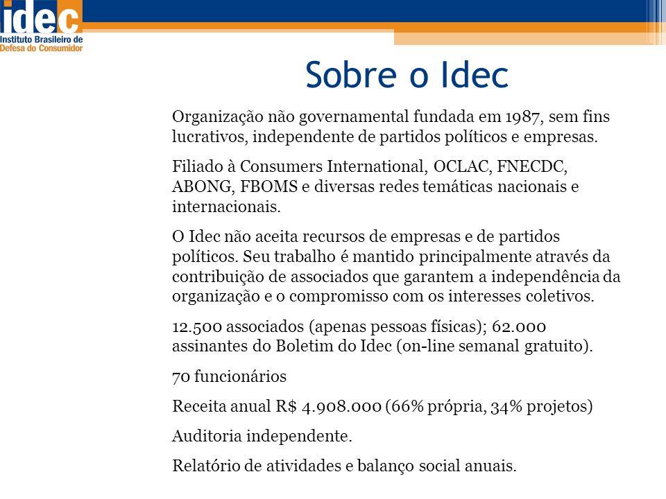 Sobre o Idec Organização não governamental fundada em 1987, sem fins lucrativos, independente de partidos políticos e empresas.