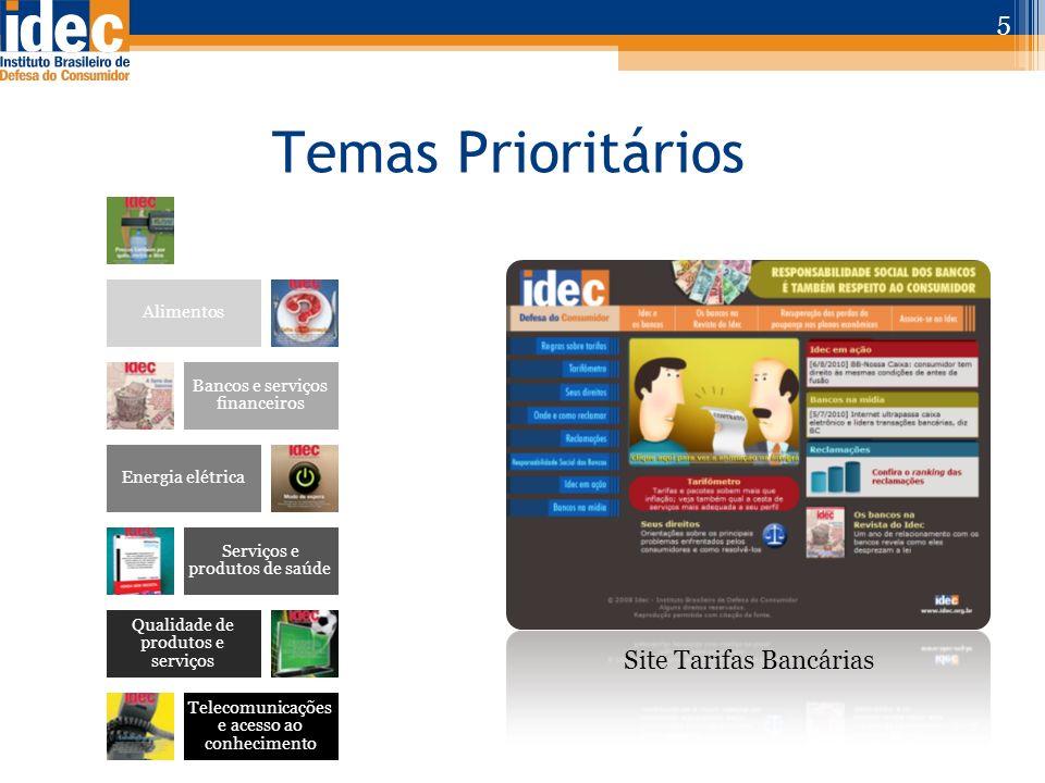 Temas Prioritários 5 Site Tarifas Bancárias Água e Saneamento