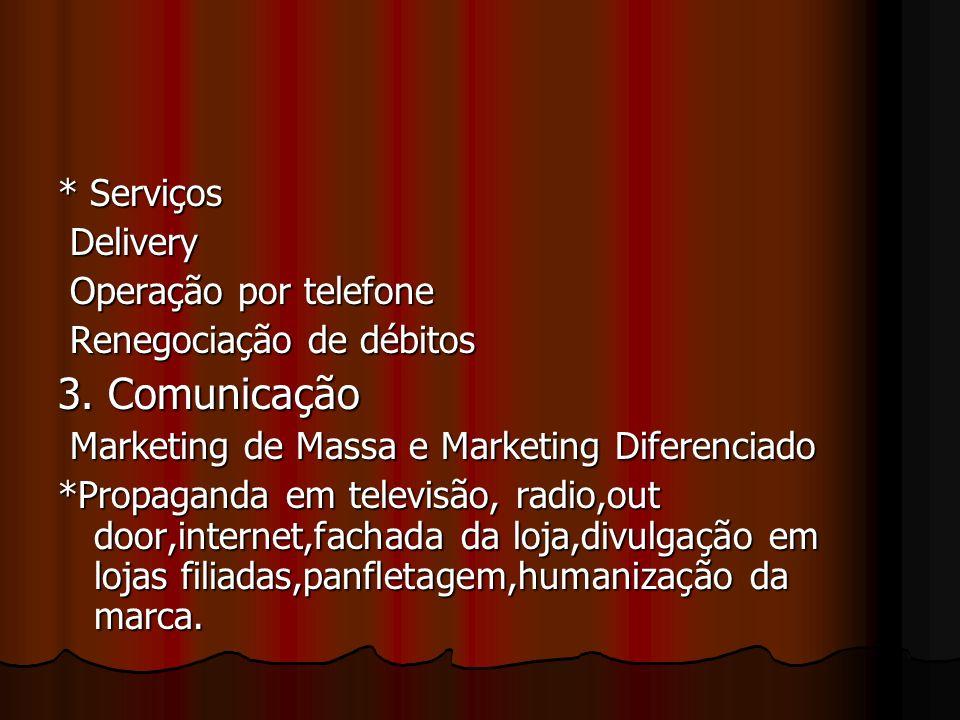 3. Comunicação * Serviços Delivery Operação por telefone