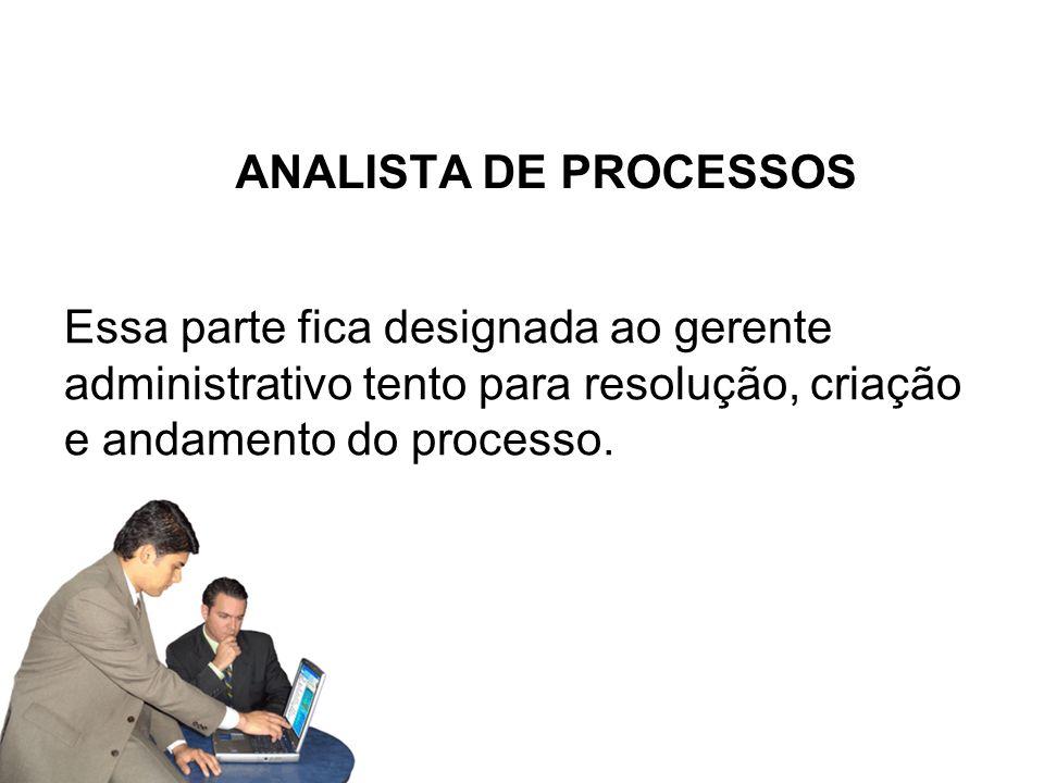 ANALISTA DE PROCESSOSEssa parte fica designada ao gerente administrativo tento para resolução, criação e andamento do processo.