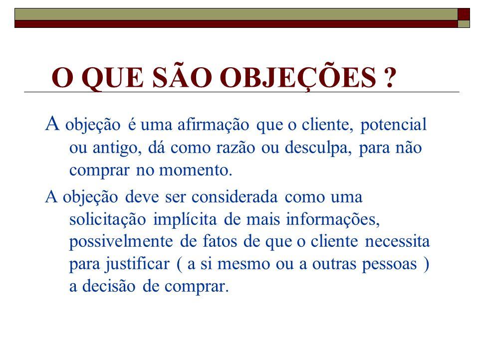O QUE SÃO OBJEÇÕES A objeção é uma afirmação que o cliente, potencial ou antigo, dá como razão ou desculpa, para não comprar no momento.