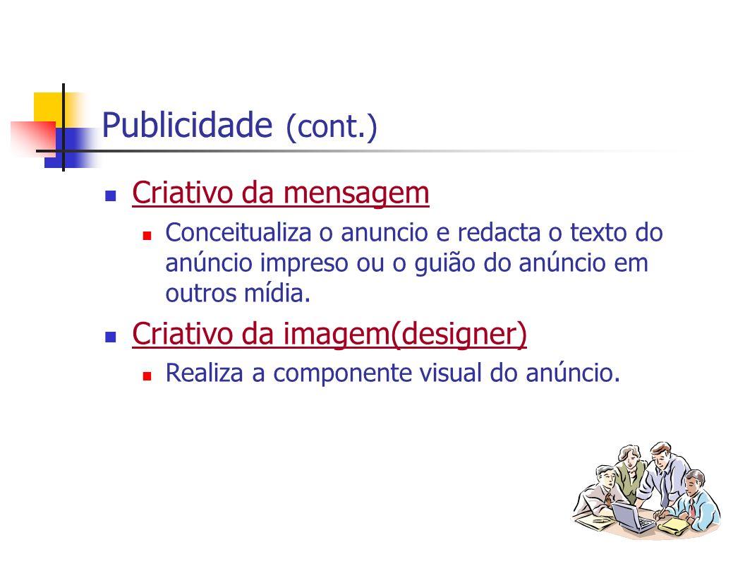 Publicidade (cont.) Criativo da mensagem Criativo da imagem(designer)