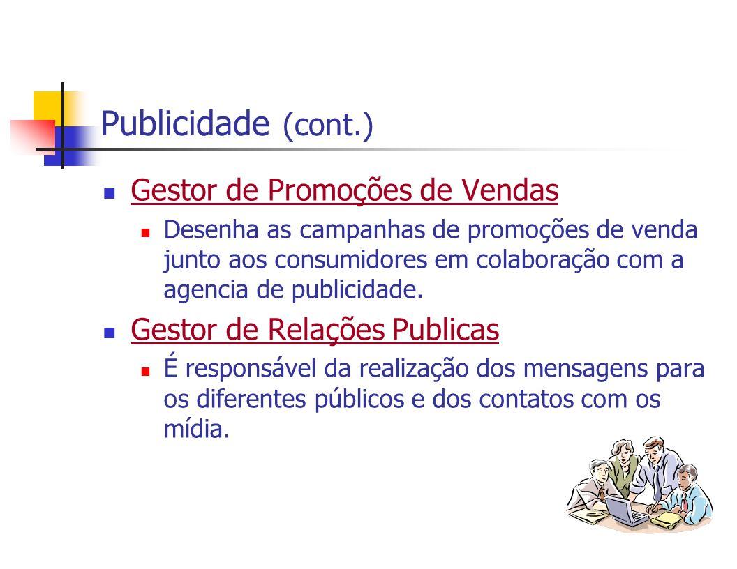 Publicidade (cont.) Gestor de Promoções de Vendas