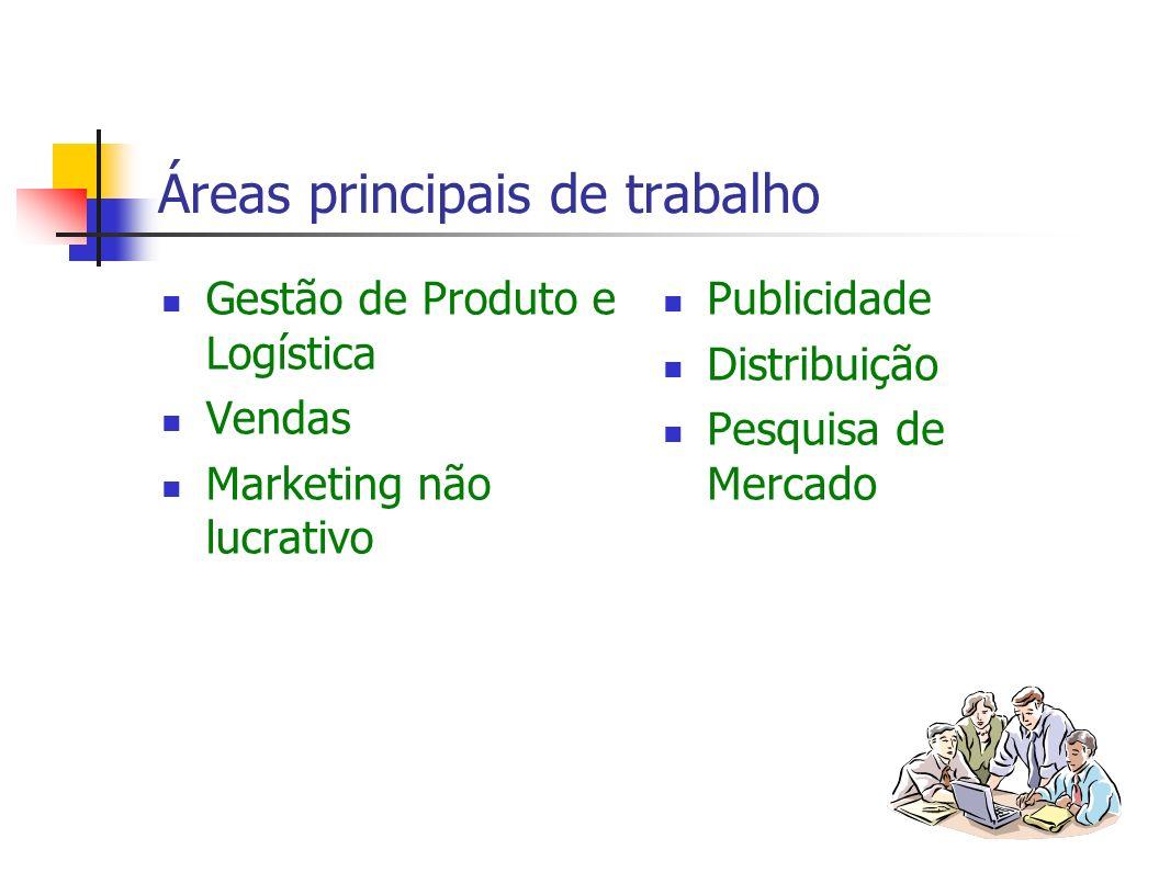 Áreas principais de trabalho