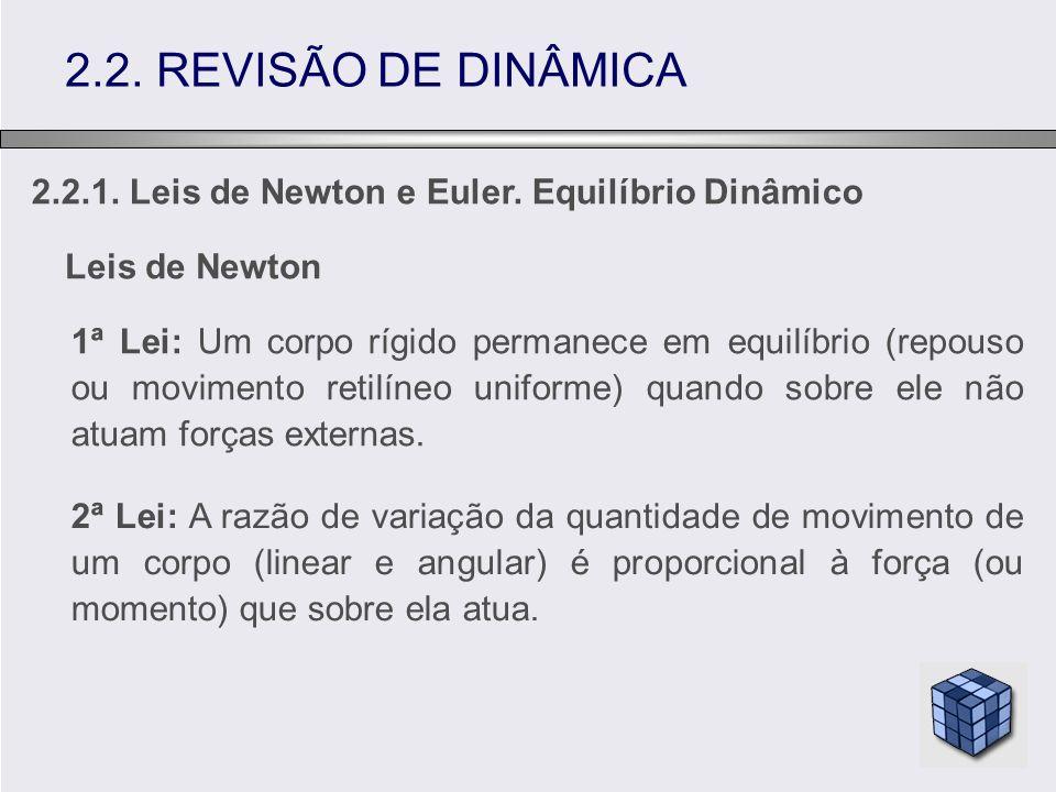 2.2. REVISÃO DE DINÂMICA 2.2.1. Leis de Newton e Euler. Equilíbrio Dinâmico. Leis de Newton.